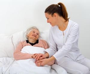 elderly women with caretaker