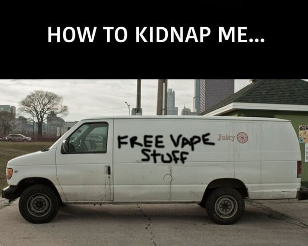 Van with the free vape stuff text