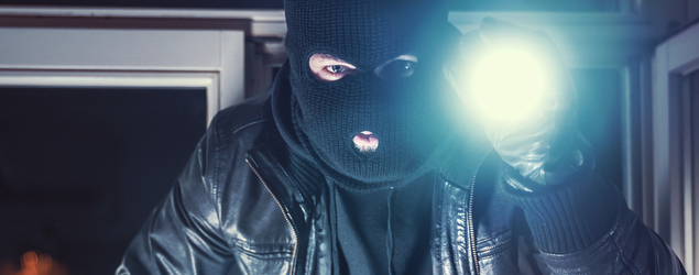 Thief in a black mask with a flashlight