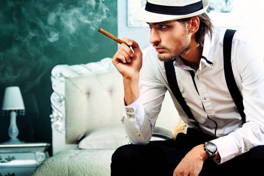 fashion man smoking cigarette