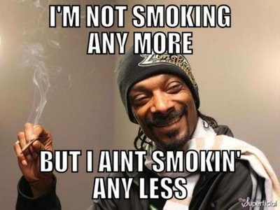 i'm not smoking any more but i ain't smokin any less