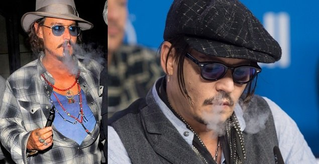 Johnny Depp using vaporizer