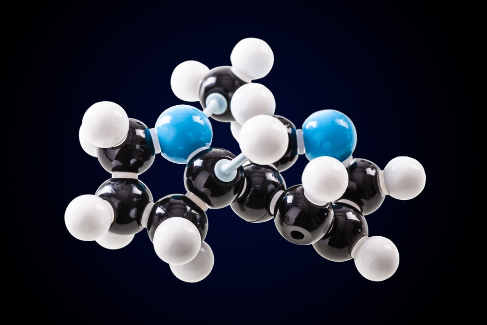 Nicotine chemical molecular structure model