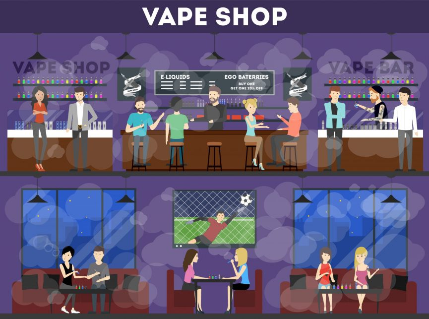 Vaping shops with customers
