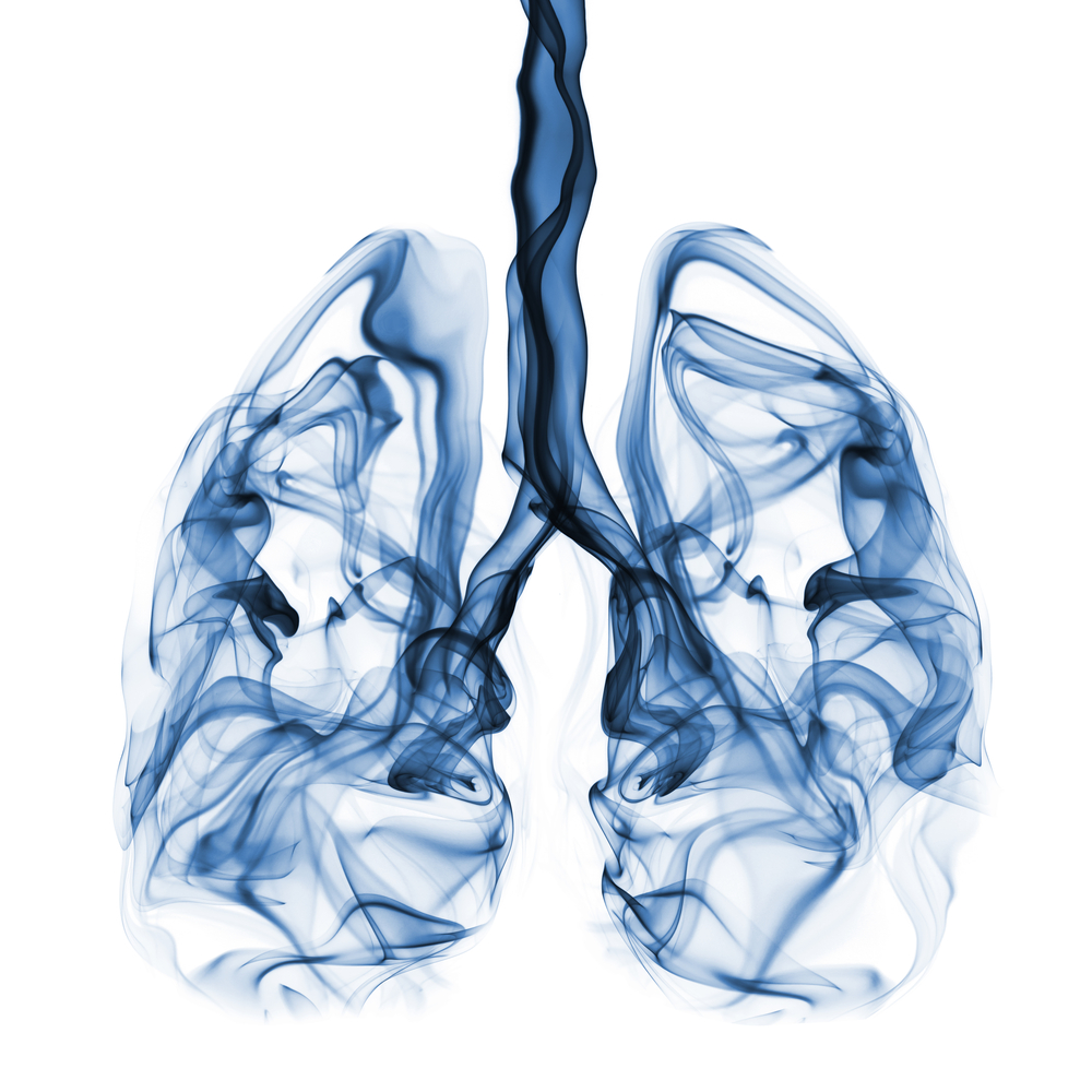 human lungs in blue vapor
