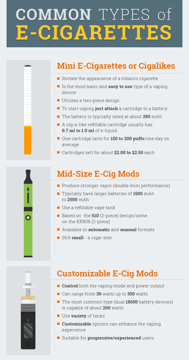 Common Types of E-Cigarettes infographic