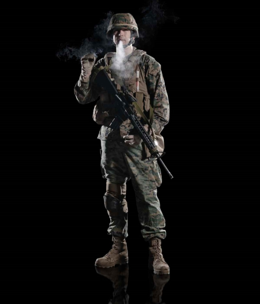 U.S. military marine. soldier with cigarette cost of smoking image