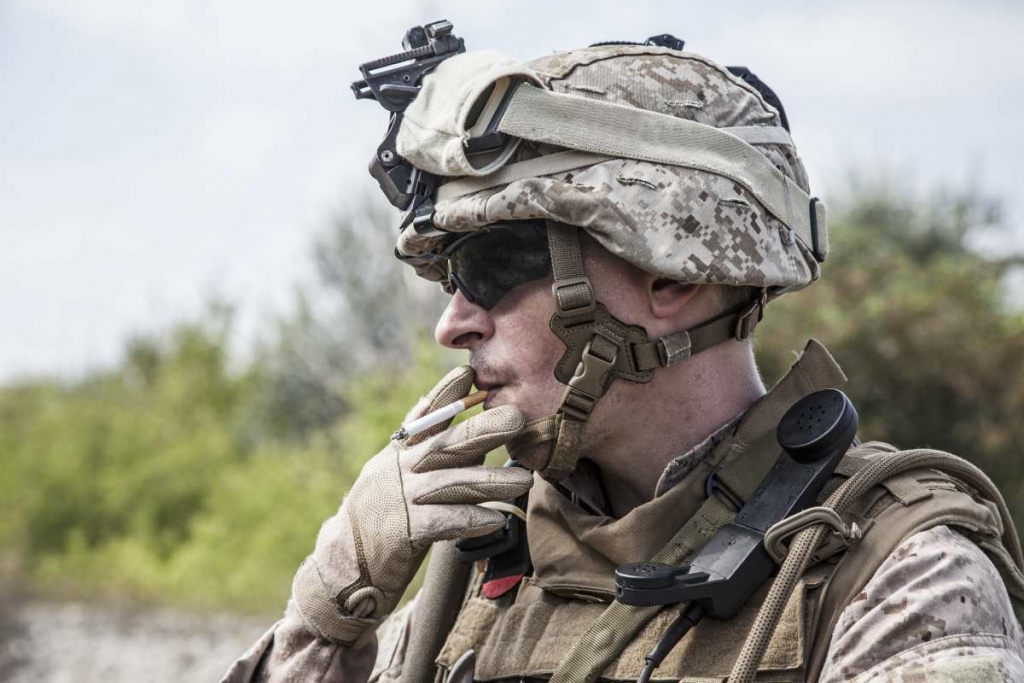 US marine smoking a cigarette image