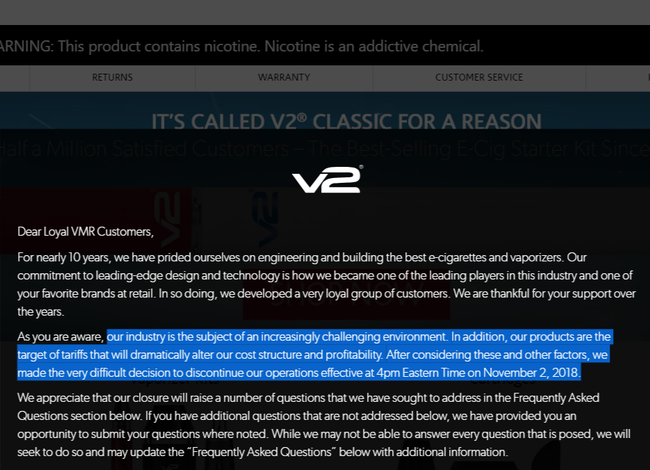 V2 closing disclaimer