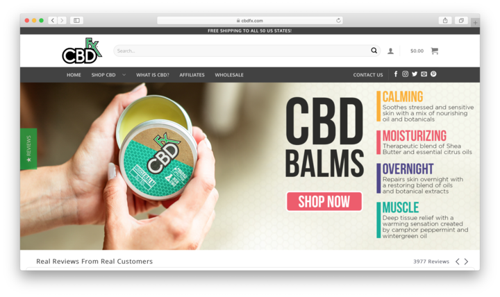 CBDfx — Brand With Everything That Could Be Made With Cannabidiol
