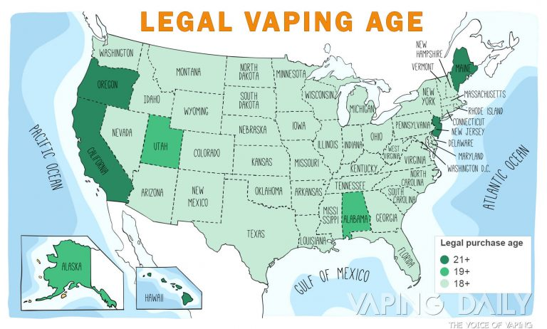 Vaping Legal purchase age Map
