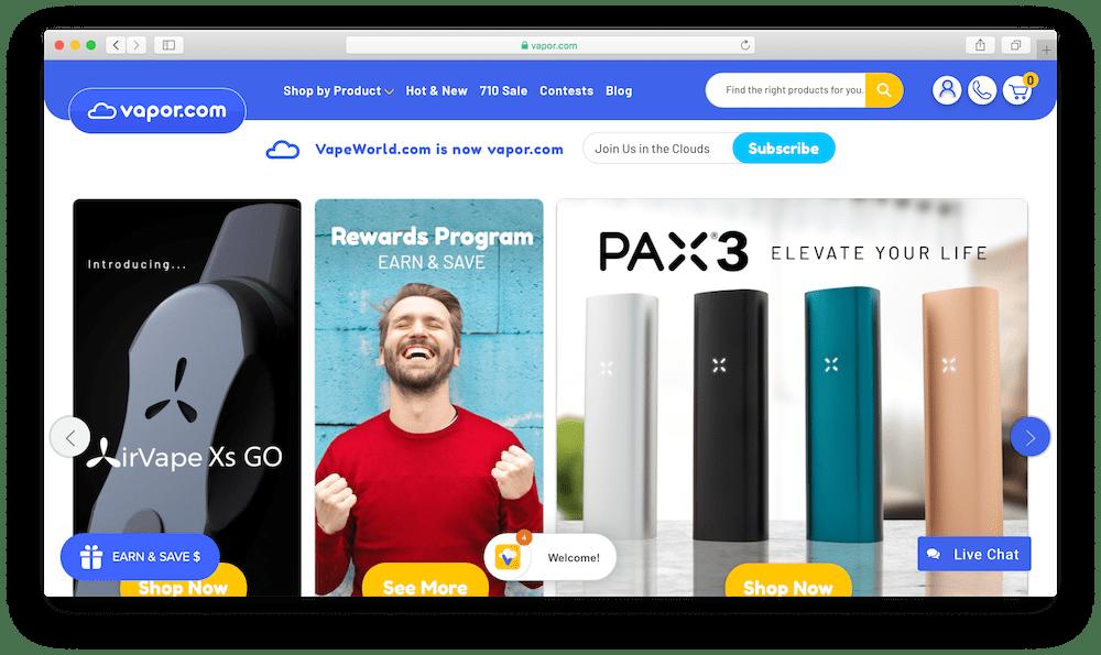 Vapor.com website