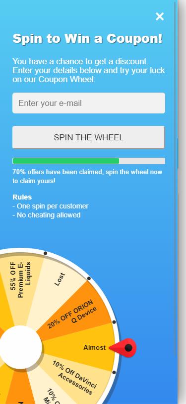 Vape Deals Wheel to get a discount image
