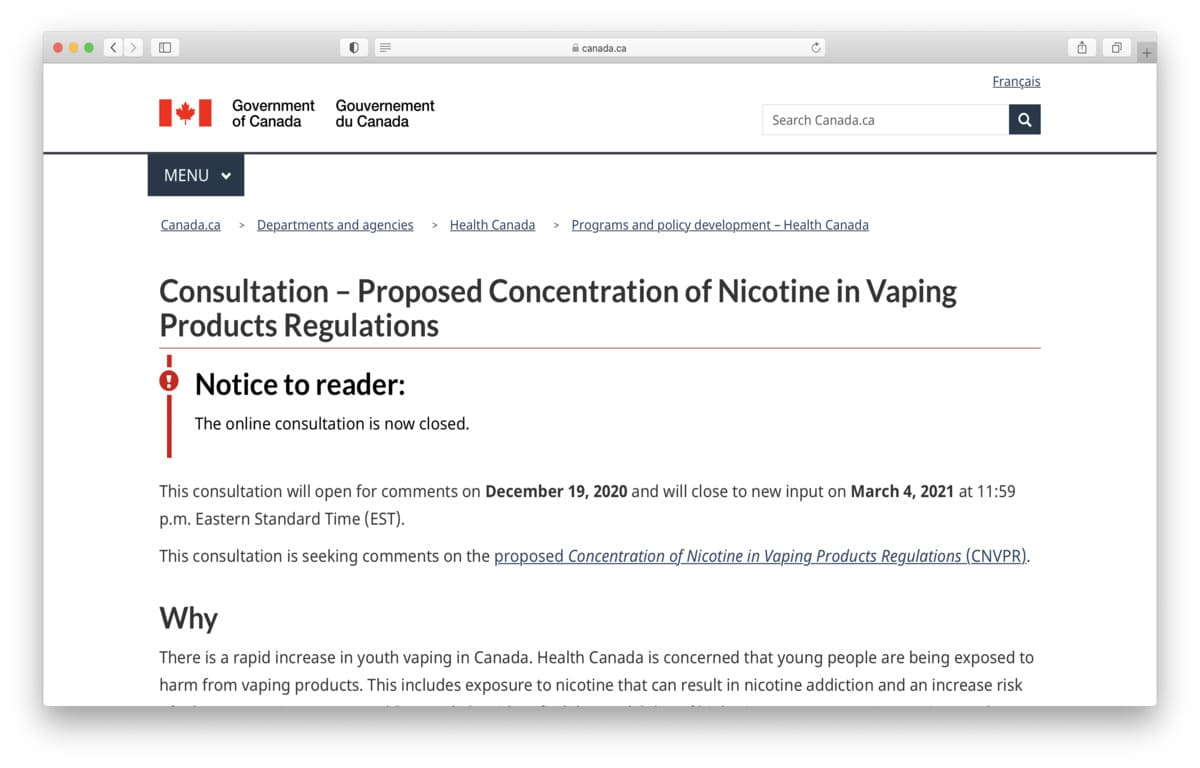 Proposed Concentration of Nicotine in Vaping Products Regulations