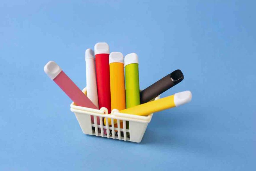 electronic cigarettes in a shopping basket