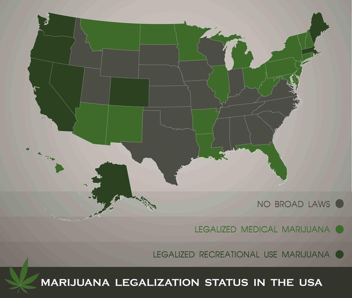 Marijuana legalization status map in the USA